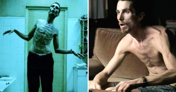 Khi đóng phim The Machinist(2004), Christian Bale đã gây sốc hoàn toàn khi giảm 28kg, khiến cân nặng của anh chỉ còn 54kg. Để làm được điều này, nam diễn viên đã tự cô lập mình, chỉ uống nước, cà phê và ăn một quả táo mỗi ngày suốt 4 tháng