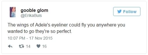 """""""Đôi cánh trên đường eyeliner của Adele có thể đưa bạn bay đi bất cứ đâu bởi chúng quá ư là hoàn hảo"""""""