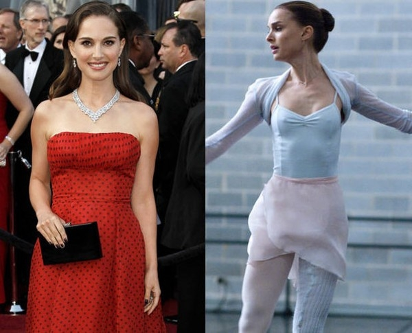 """Để giành được giải Oscar cho vai diễn trong Thiên Nga Đen, Natalie Portman đã giảm gần 10kg, khiến cho thân hình cô trở nên """"mỏng dính"""", có thể thấy cả xương sườn nhô ra"""