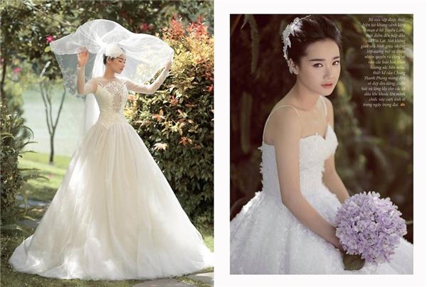Thiên thần Nhã Phương khoe sắc với bộ váy cưới trắng có phần thân trên lạ mắt, cầu kì.