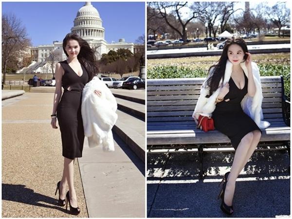 Áo khoác lông cũng nằm trong danh sách những món đồ thời trang yêu thích của Ngọc Trinh trong tiết trời ngày đông trở lạnh.