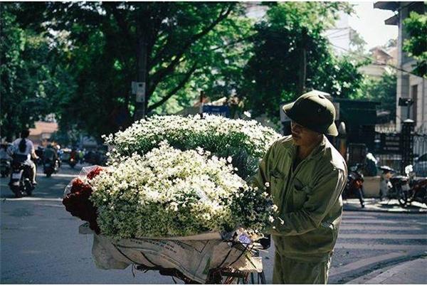 Người dân Hà Nội cùng xe hoa cúc họa mi xuống phố những ngày đầu đông khiến cho mỗi ngõ ngáchcàng thêm thơ mộng và lãng mạn vô cùng. (Ảnh: Internet)