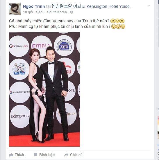 Sau khi Ngọc Trinh đăng tải hình ảnh lên trang cá nhân, côđã nhận được hàng nghìn lượt yêu thích và bình luận. Đã có rấtnhiều ý kiến trái chiều xung quanh chiếc đầm này. - Tin sao Viet - Tin tuc sao Viet - Scandal sao Viet - Tin tuc cua Sao - Tin cua Sao