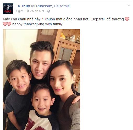 Người mẫu Lê Thúy đăng tải hình ảnh được đón lễ cùng… 3 trai đẹp:anh chồng điển trai và hai người cháu sáng sủa, khôi ngô. - Tin sao Viet - Tin tuc sao Viet - Scandal sao Viet - Tin tuc cua Sao - Tin cua Sao