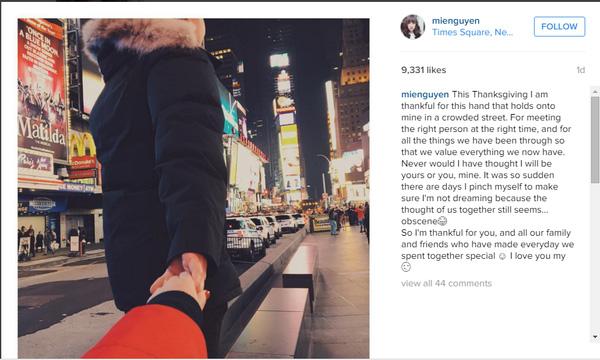 Bức ảnh mới nhất mà Mie đăng trên Instagram.