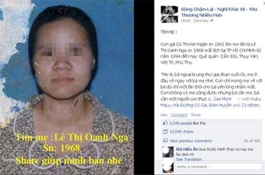 Hình ảnh và nội dung mà Ngân đăng tải trên mạng xã hội để tìm mẹ. Ảnh: Internet