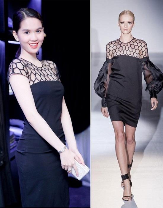 """""""Nữ hoàng nội y"""" khéo léo vận dụng phần lưới xuyên thấu của Versace vào trong bộ váy của mình. So với bản gốc trên sàn diễn, bộ váy mà Ngọc Trinh diện trông có vẻ thanh thoát, nhẹ nhàng hơn."""