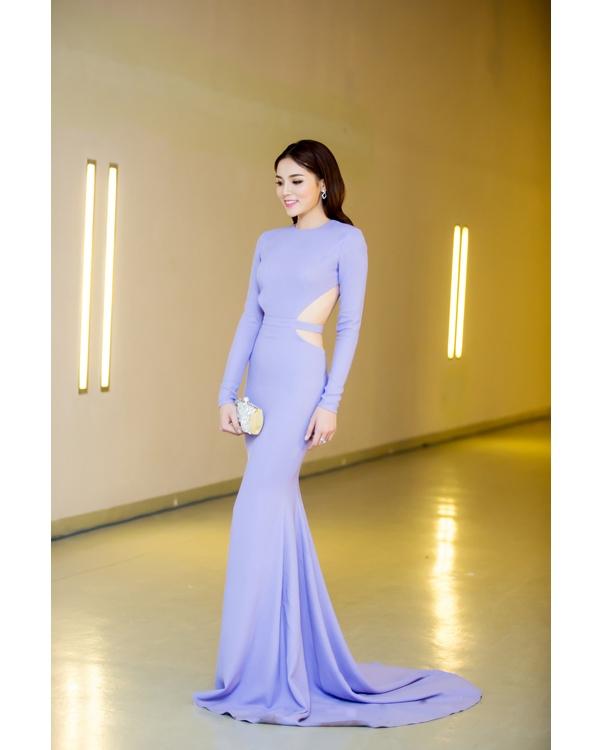 Hai hình ảnh khác biệt của hoa hậu Kỳ Duyên với chất liệu ánh kim cùng sắc xanh pha tím.