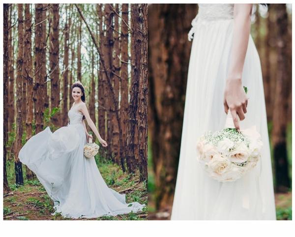 Trước đó, trong buổi chụp ảnh cưới tại Đà Lạt, Diễm Hương diện 4 mẫu váy cưới trắng khác nhau. Hai trong 4 mẫu thiết kế là váy dài nhẹ nhàng phù hợp với vẻ ngoài của Diễm Hương.