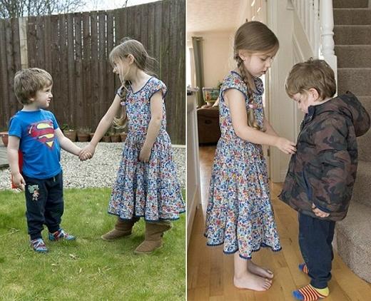Phoebe (5 tuổi, ở Anh) đã dành hết tình yêu thương cho em trai bị bệnh hiểm nghèo. Ảnh: Internet