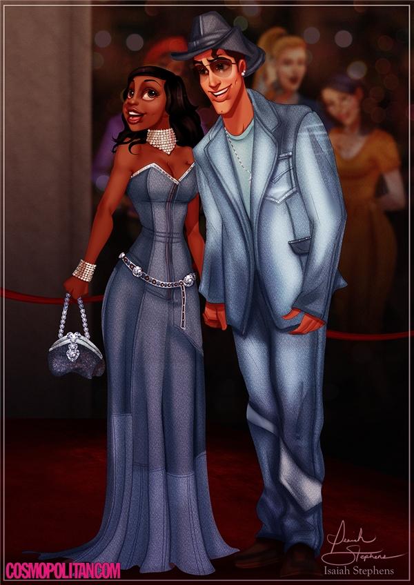 Nàng công chúa Tiana trong vai Britneysánh đôi cùng hoàng tử ếch Naveen - chính là Justin Timberlake -tại giải thưởng âm nhạc American Music Awards 2001.(Ảnh: Cosmopolitan)