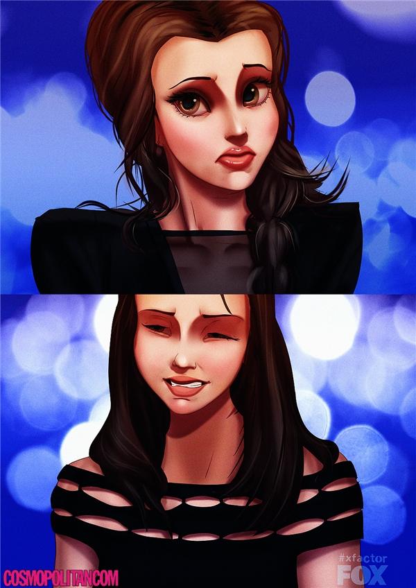 """Và khi Belle """"nhại"""" lại biểu cảm của Britney khi làm giám khảo cuộc thi X Factor.(Ảnh: Cosmopolitan)"""