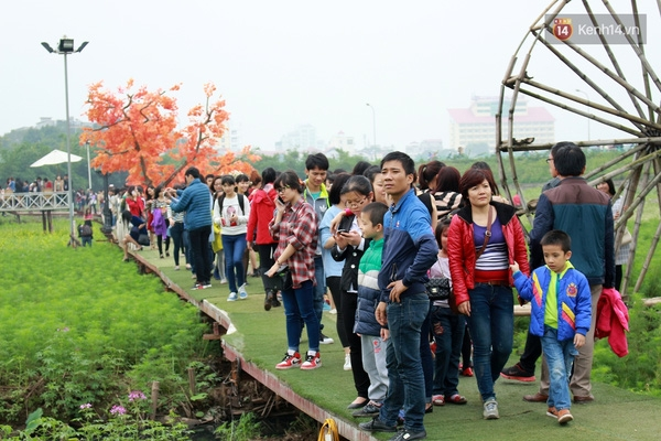 Lượng khách đổ về thung lũng hoa Hồ Tây trong ngày 29/11 rất đông ngay từ buổi sángvà đạt đỉnh điểm vào khung giờ từ 11h đến 15h chiều.