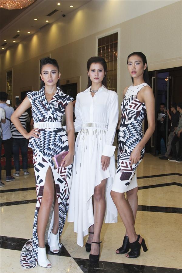 Bộ ba quán quân Vietnam's Next Top Model: Mâu Thủy, Nguyễn Oanh, Hương Ly.