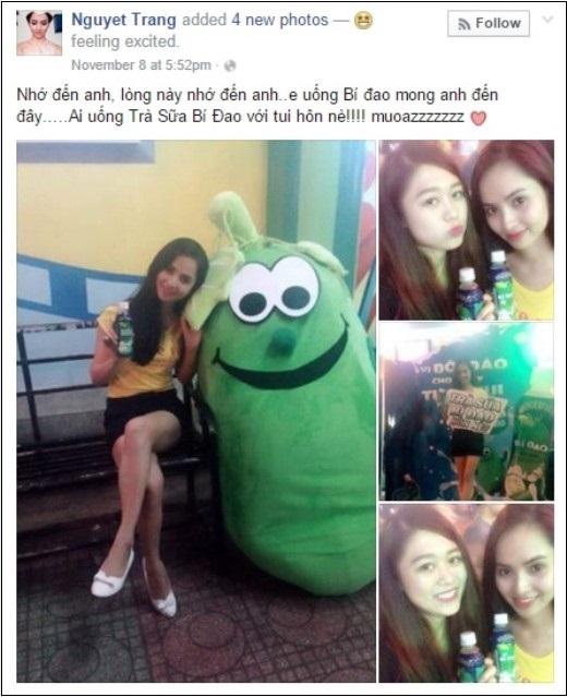 """""""Nhớ đến anh, lòng này nhớ đến anh, em uống Bí Đao mong anh đến đây"""" là một chia sẻ khá """"lãng mạn"""" của Nguyệt Trang."""