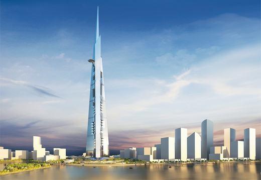 """Theo CNN, chính phủ Ả-rập Xê-út đã quyết định đầu tư tới hơn 2,2 tỉ USD (49.500 tỉ đồng)để xây dựng một khu liên hợp, trong đó có tòa nhà cao nhất thế giới 1.000m. Riêng tòa nhà Jeddah Tower này (tên đầu tiên là Kingdom Tower) sẽ """"ngốn"""" tới 1,2 tỉ USD (27.000 tỉ đồng)trong số đó. (Ảnh: CNN)"""