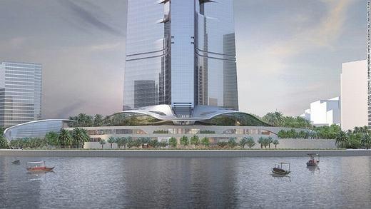 Chân tháp Jeddah Tower cũng có hình bông hoa 3 cánh, biểu tượng của sa mạc giống như Burj Khalifa. (Ảnh: CNN)