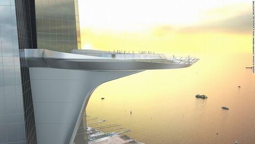 Dự kiến, móng tòa tháp sẽ được đàosâu 60m dưới lòng đất. Cùng với đó, tòa nhà sẽ có thêm một sân thượng cực lớn ở tầng 157 quay mặt ra biển Đỏ. Khi hoàn tất, nó sẽ được ghi vào sách kỉ lục Guinness với danh hiệu sân thượng cao nhất thế giới. (Ảnh: CNN)