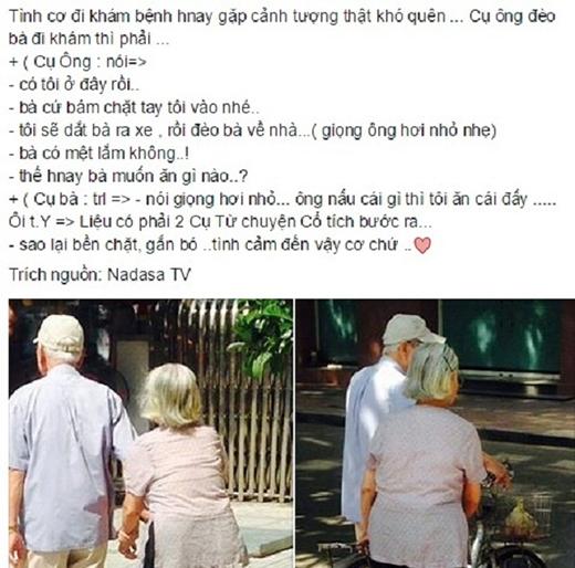"""Một câu chuyện lãng mạn khác về đôi vợ chồng già dắt nhau đi bệnh viện được chia sẻ trên mạng xã hội. Dù tuổi đã cao, những bước đi chậm rãi nhưng cụ ông vẫn không quên ân cần hỏi han cụ bà từng chút một: """"Có tôi ở đây rồi. Bà cứ bám chặt tay tôi vào nhé!""""."""