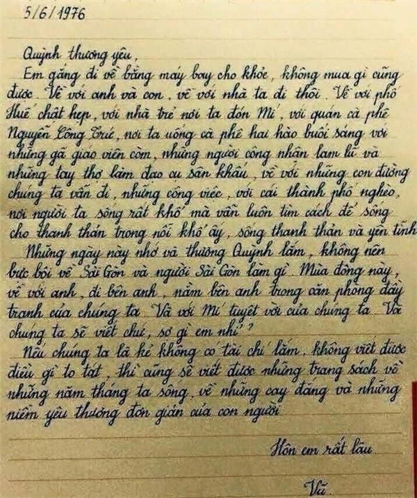 Bức thư tình ngọt ngàocủa Lưu Quang Vũ dành cho Xuân Quỳnh được một người dùng Facebook chép tay lại. (Ảnh: Internet)