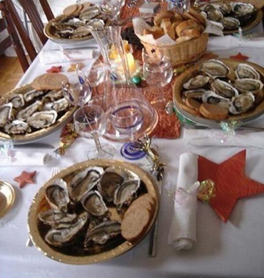 Tại Pháp, người ta rất coi trọng bữa ăn Giáng sinh. Bữa tiệc của họ thường được tổ chức từ đầu buổi ngày hôm trước đến sáng ngày hôm sau. Món không thể thiếu của họ là ngan ngỗng béo, ngỗng quay, vịt quay, gà tây nhồi nhân hạt dẻ bỏ lò... và các loại hải sản như hàu sống, tôm hùm, cá hồi... Tất nhiên, rượu vang và champagne luôn là thức uống không thể không xuất hiện. (Ảnh: Internet)