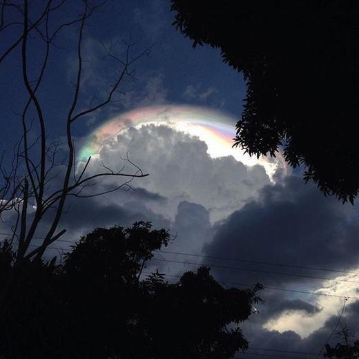 Thời gian gần đây, hiện tượng mây ngũ sắc đã xuất hiện ởkhá nhiều nơi. Hình ảnh này được ghi lại vào tháng 9/2015 vừa qua tại nhiều thành phố bao gồm San Jose, Parrita, Pavas, Escazu và Hatillo của Costa Rica. Được biết, đây là hiện tượng thời tiết hiếm gặp, xuất hiện khi ánh sáng mặt trời bị các tinh thể băng trên mây bẻ cong. (Ảnh: Oddee)