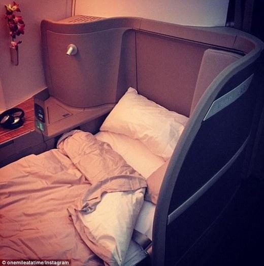 Schlappig nói chiếc giường trên máy bay làtuyệt vời nhất.(Ảnh: Internet)