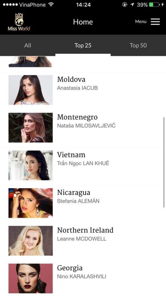 Hiện tại, người hâm mộ Việt Nam cũng đã đón nhận được nhiều tin vui của Lan Khuê từ Trung Quốc. Tính đến thời điểm hiện tại, Lan Khuê đang xếp thứ 4 bình chọn trên trang web, nằm trong top 25 bình chọn trên ứng dụng trực tuyến của Miss World. Sau nhiều năm chờ đợi thì trang phục và những vũ điệu truyền thống của Việt Nam sẽ được xuất hiện trong phần mở màn của Miss World 2015 với phần múa đơn của Lan Khuê. - Tin sao Viet - Tin tuc sao Viet - Scandal sao Viet - Tin tuc cua Sao - Tin cua Sao