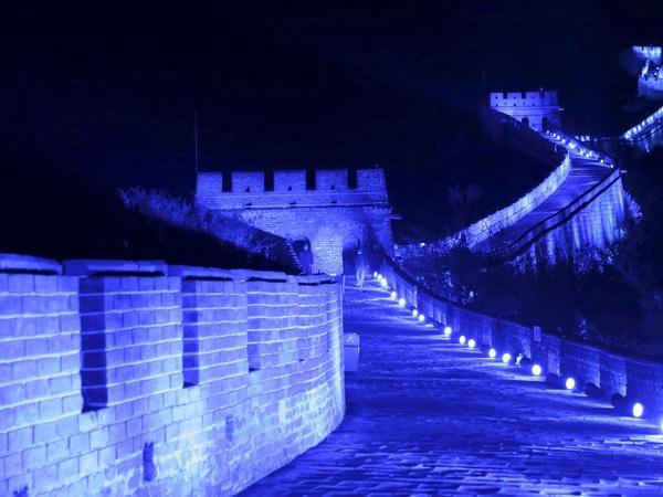 Vạn lý Trường thành của Trung Quốc được phủ ánh sáng xanh kỷ niệm 70 năm thành lập Liên Hợp Quốc, ngày 24/10/2015.