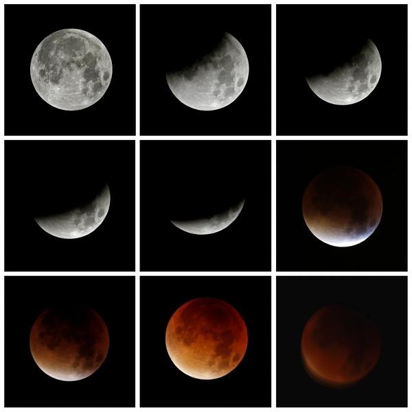 Hình ảnh cho thấy tiến trình của hiện tượng nguyệt thực trùng với siêu trăng nhìn từ Hemel Hempstead, Anh ngày 28/9/2015. Hiện tượng này được quan sát lần cuối vào năm 1982 và lần tiếp theo sẽ diễn ra vào năm 2033.