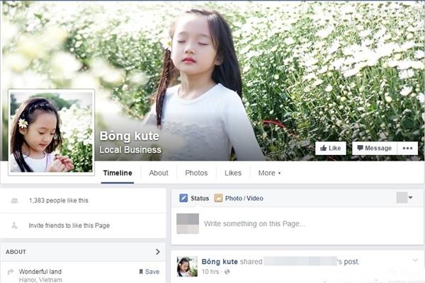 Bé Bảo Anh có hẳn một trang Facebook với hơn 1.300 lượt yêu thích.(Ảnh: Facebook)