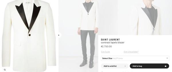 Chiếc áo vest trắng kết hợp phần cổ đen tương phản của Saint Laurent có giá gần 60 triệu đồng.