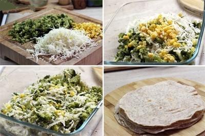 Rau súp lơ rửa sạch, tách các cụm hoa. Đun sôi một nồi nước thêm vào đó muối và cho rau súp lơ vào đun sôi khoảng 2 phút sau đó lấy súp lơ ra cho vào tô nước lạnh, lấy rau ra để cho ráo nước và thái nhỏ. Cho súp lơ đã thái vào tô cùng với phô mai bào, ngô và bột tỏi trộn đều. Thêm muối và hạt tiêu trộn đều.