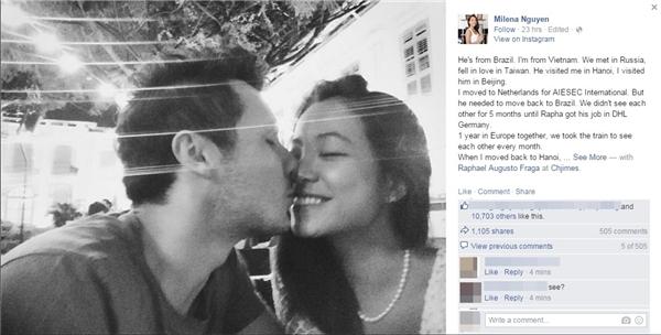 """Chuyện tình """"kì lạ"""" của cặp đôi này nhận được sự yêu thích và chia sẻ """"khủng"""" từ phía cư dân mạng.(Ảnh: Facebook)"""