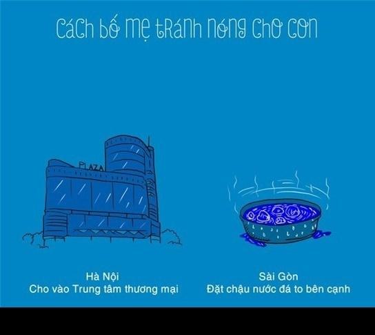 Sự khác biệt hài hước về mùa nóng ở HN - SG