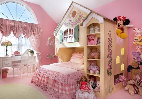 phòng ngủ màu hồng cho con gái