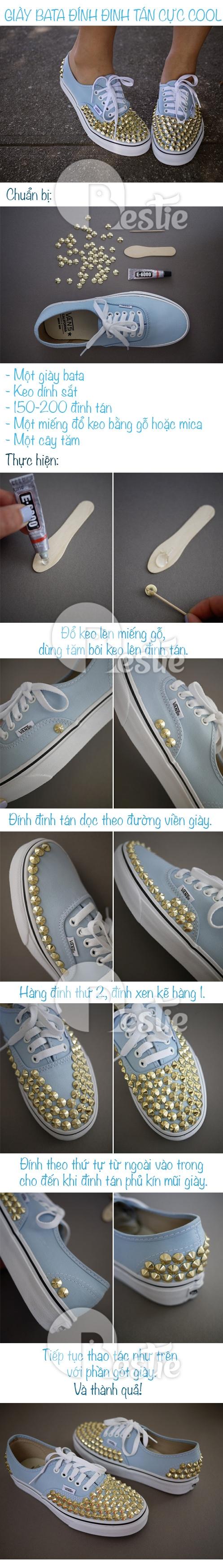 DIY: Tự làm giày đính đinh tán cực cool