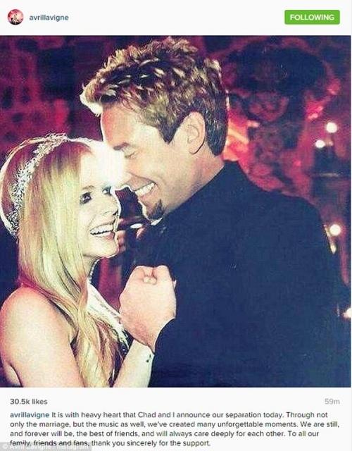 Avril Lavigne chính thức xác nhận ly thân chồng
