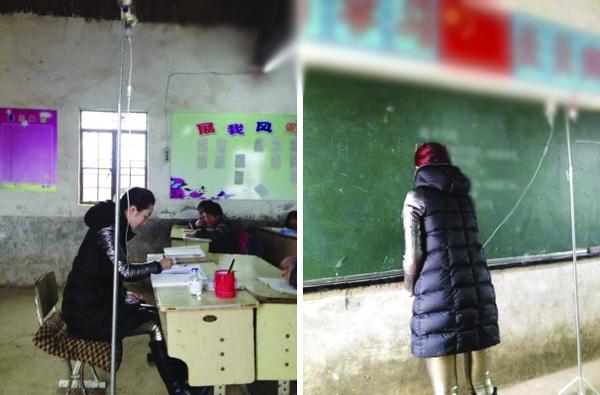 Dù đang phải truyền nước nhưng cô giáo vẫn không bỏ lớp của mình. (ảnh Internet)