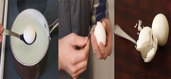Bóc vỏ trứng bằng thìa chỉ trong vài giây. (Ảnh Internet)