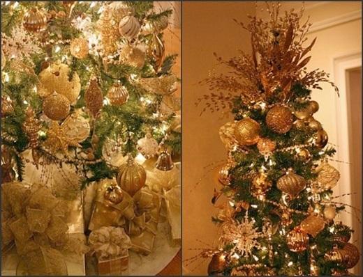Thay vì hai tông màu chủ đạo của Giáng sinh là xanh lá và đỏ, người Paris chọn tông vàng lấp lánh để trang trí nhà cửa, cây thông Noel hay bàn tiệc.(Ảnh: Internet)