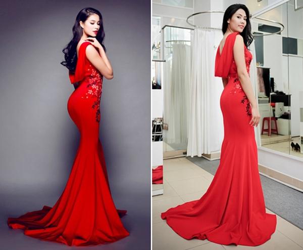 """Trong một lần khác, Phạm Hương """"đụng"""" chiếc đầm đỏ gợi cảm mà Nguyễn Thị Loan - Top 25 Hoa hậu Thế giới cũng đã từng diện."""