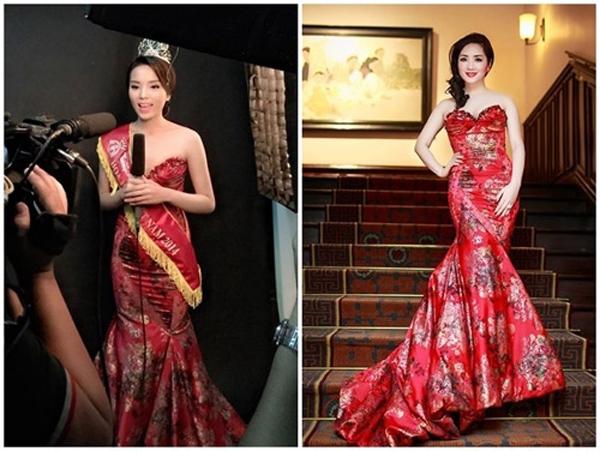 """Sau khi mới đăng quang thì Kỳ Duyên lại """"đụng"""" một chiếc đầm đỏ với Hoa hậu đền Hùng Giáng My. Rõ ràng là thiết kế này phù hợp với lứa tuổi của Giáng My hơn."""