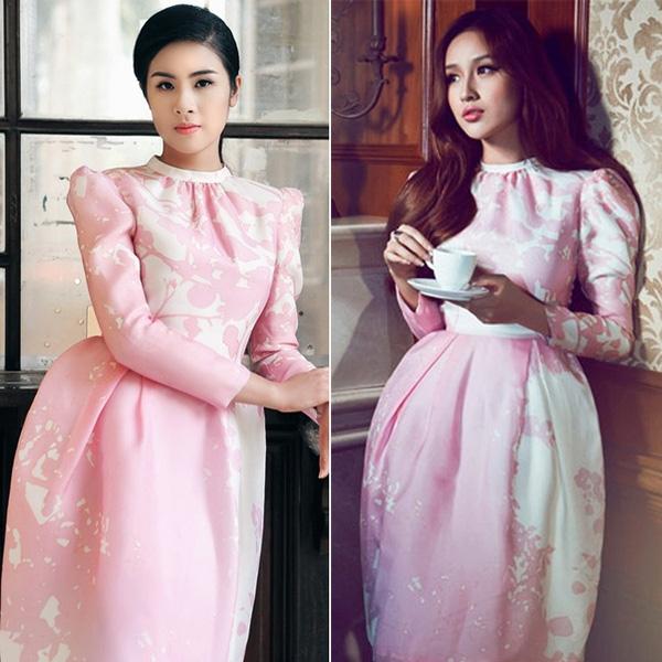 2 nàng Hoa hậu Việt Nam - Ngọc Hân và Mai Phương Thúy đều hút mắt với chiếc đầm hồng pastel tay dài.