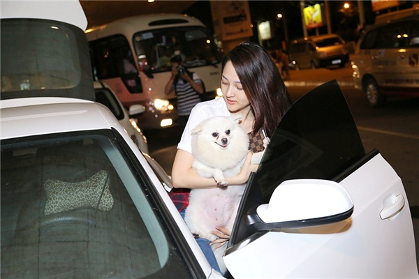 Bảo Anh ẵm chú chó lên xe.... - Tin sao Viet - Tin tuc sao Viet - Scandal sao Viet - Tin tuc cua Sao - Tin cua Sao