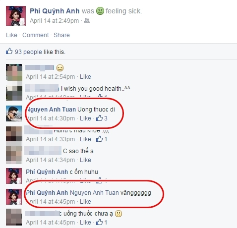 Will nhắc Quỳnh Anh Shyn uống thuốc khi ốm.
