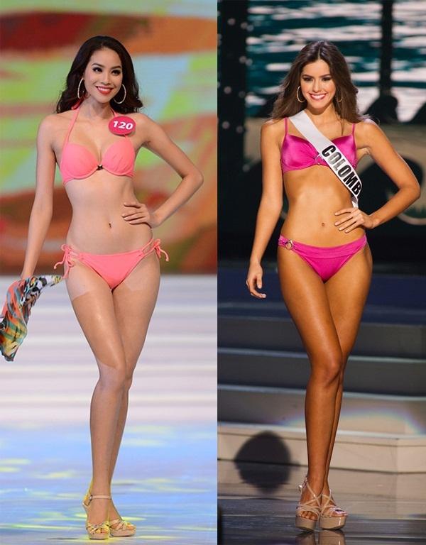 Cơ thể Phạm Hương được so sánh có nét tương đồng với đương kim Hoa hậu Hoàn vũ Paulina Vega.