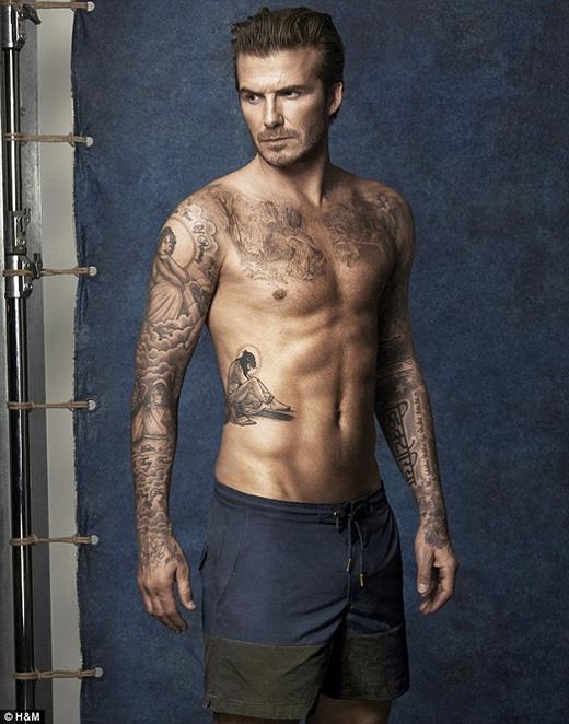 Thân hình lítưởng của David Beckham cũng là mục tiêu phấn đấu của Justin. (Ảnh: Internet)