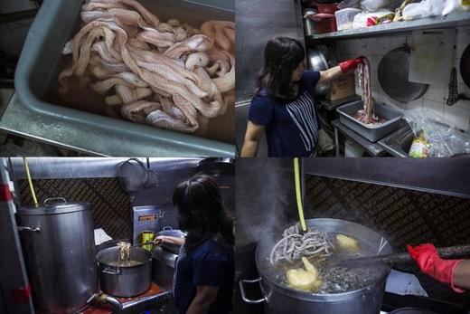 Bà Ling cho biết, cửa hàng của mình sử dụng 5 loại rắn phổ biến để chế biến món súp rắn nổi tiếng. Từ đầu năm nay, bà Ling cũng đã thêm nguyên liệu rắn biển vào công thức bí truyền. Ảnh: Internet