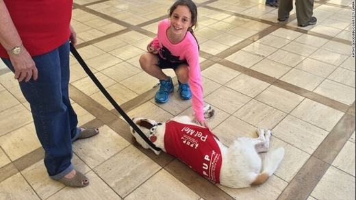 """Một bé gáiđang chơi đùa cùng một """"nhân viên sân bay"""". (Ảnh: Internet)"""